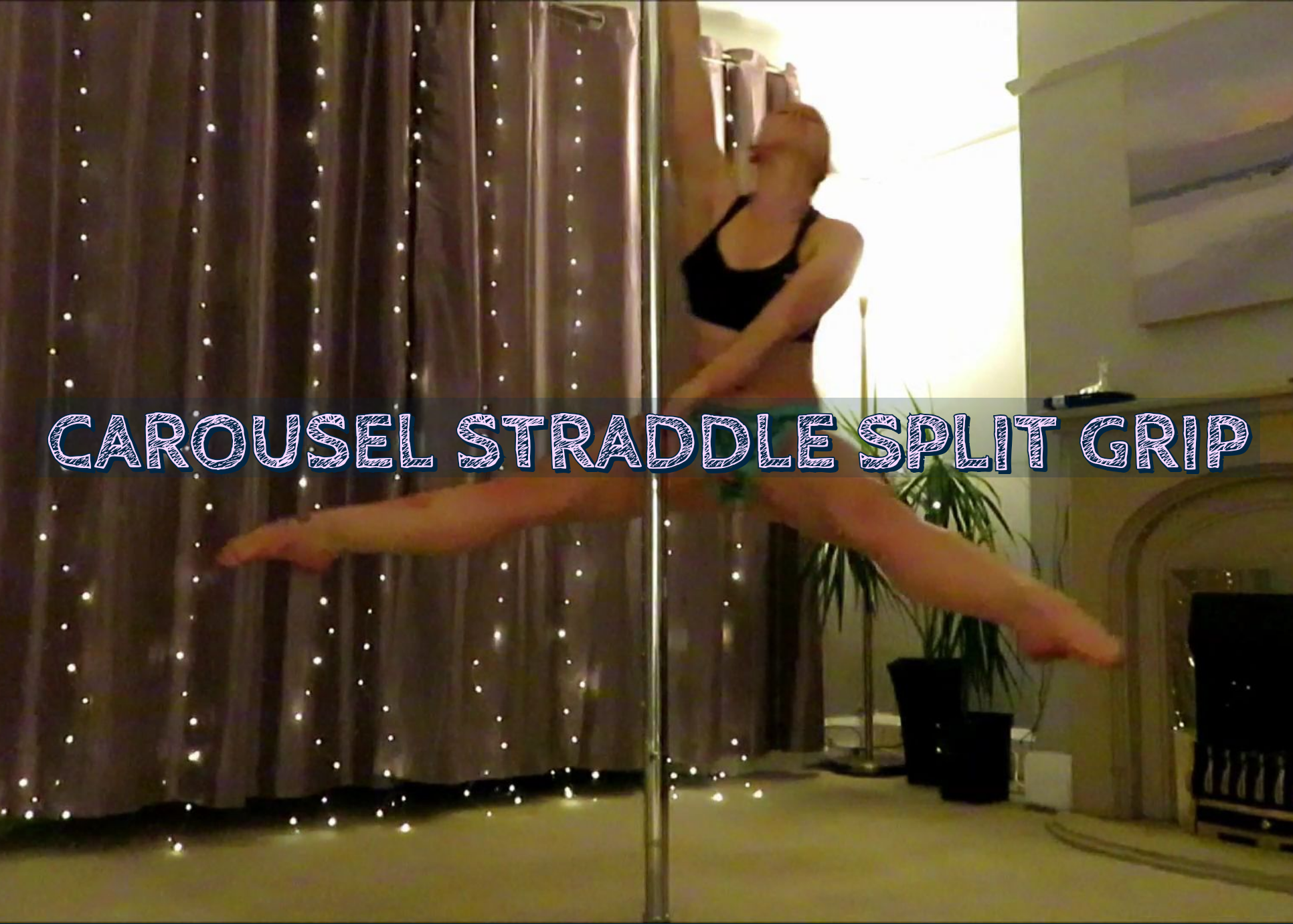 carousel straddle split grip pole dance